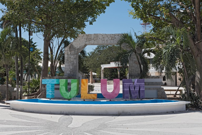 Colored lettering of the Mexican city Tulum, Quintana Roo, Mexico