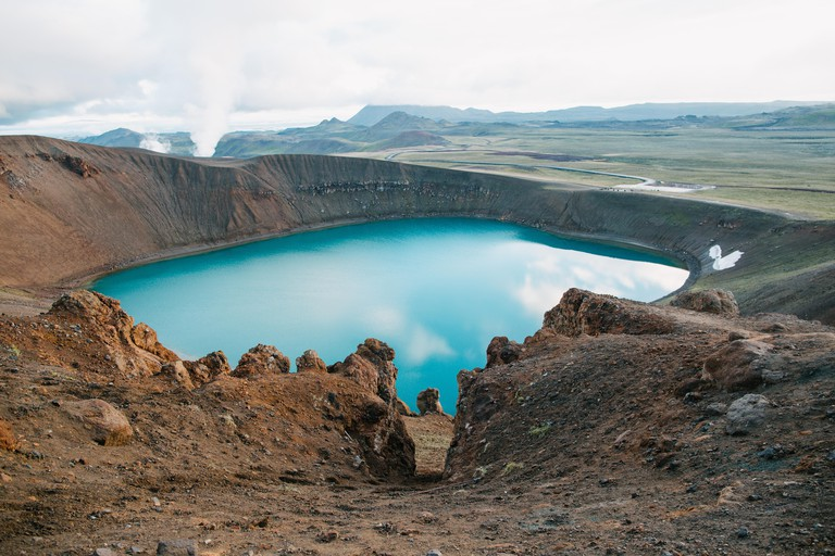 magnificent icelandic landscape with scenic volcanic lake viti, krafla