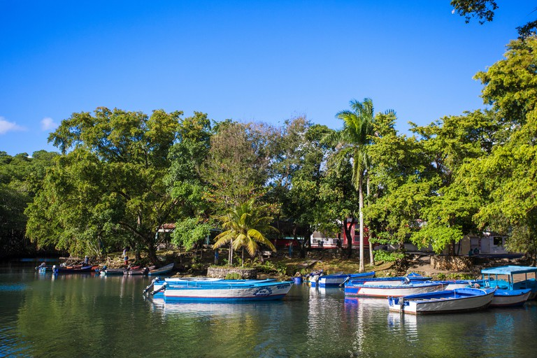 Dominican Republic, Rio San Juan, Boats at Laguna Gri Gri