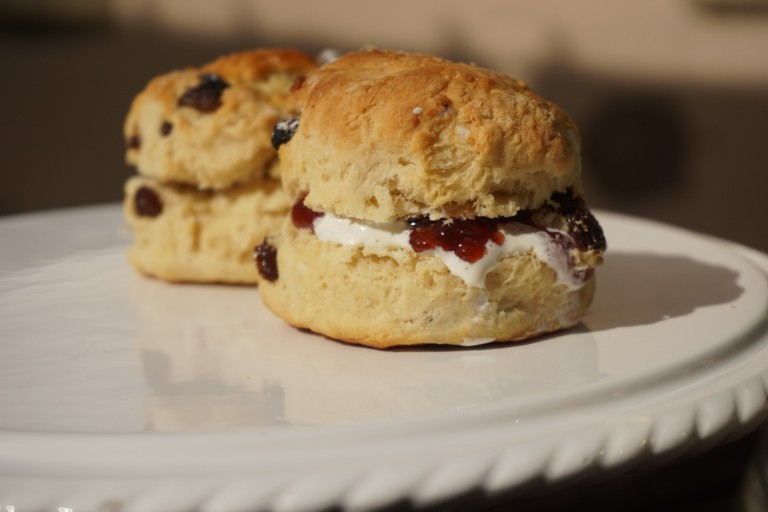 Scone with clotted cream and jam