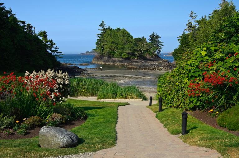 Crystal Cove Beach Resort's Well-Manicured Walkway To Beach; Tofino, Vancouver Island, British Columbia, Canada