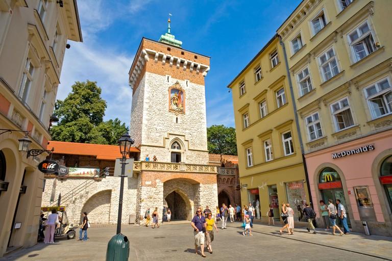Florian Gate Brama Florianska ul. Florianska street Cracow Krakow Stare Miasto Old Town Poland tourism travel