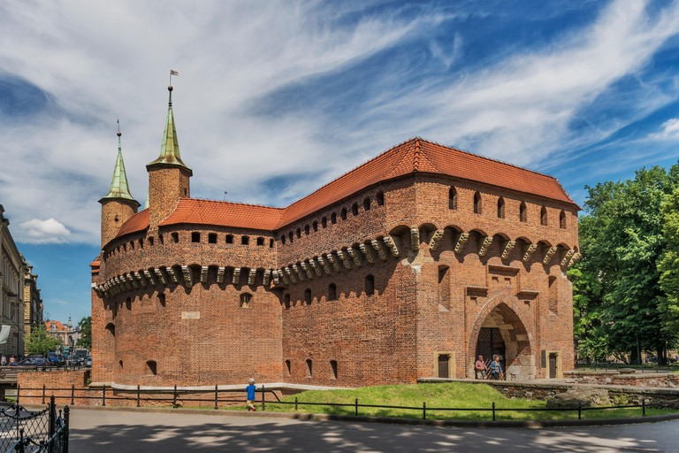 The Barbican in Krakow is the largest extant Barbican in Europe, built from 1498 to 1499, Lesser Poland, Poland, Europe