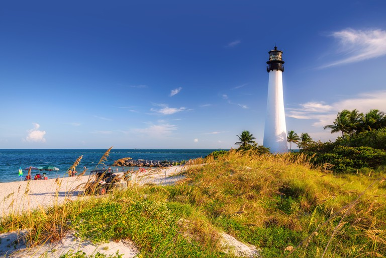 The Beach and Cape Florida lighthouse at sunset, Key Biscayne, Miami
