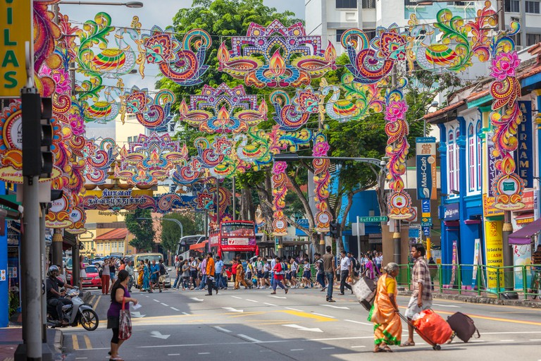 Deepavali or Diwali Decorations in Serangoon Road, Little India, Singapore.