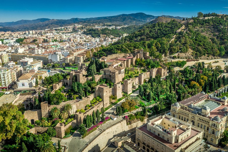 Aerial view of the Alcazaba in Malaga and the Castillo de Gibralfaro from the Moorish Arab times in Southern Spain