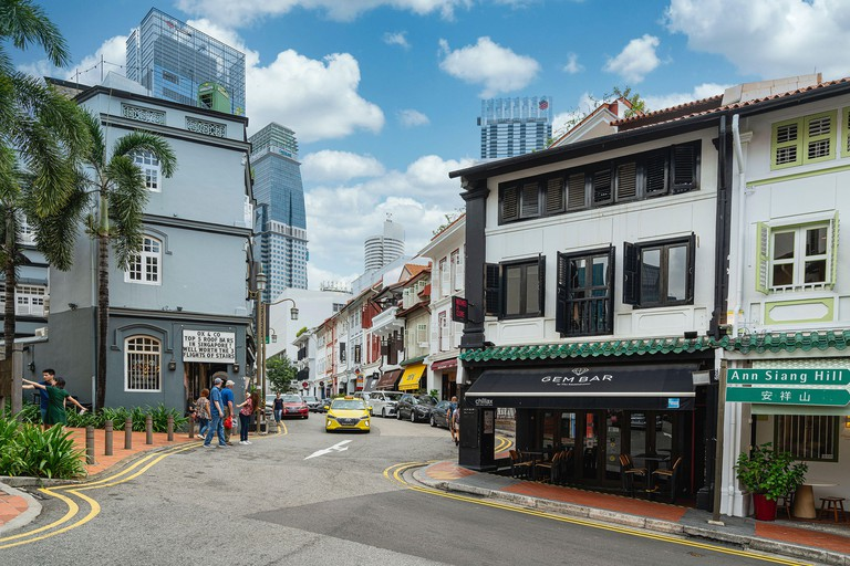 Singapore. January 2020.   Typical shop houses in Ann Siang Hill