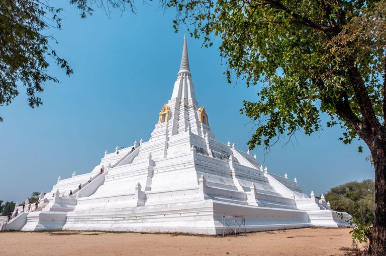 Ayutthaya, Bangkok / Thailand - February 9, 2020: Name of this place  Wat Phu Khao Thong Temple  the temple is white and it's in Ayutthaya Province