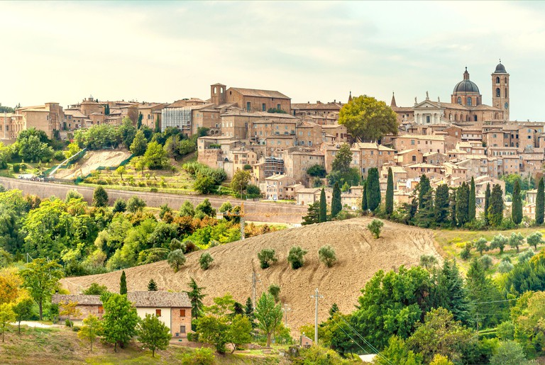 Historical Skyline of Urbino at the  Marche Region, Italy