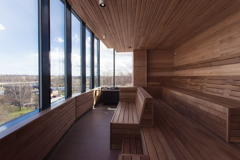 Wooden clad lookout at Tartu Hotel