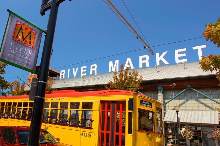 Trolley in River Market District popular tourist area in Little Rock Arkansas