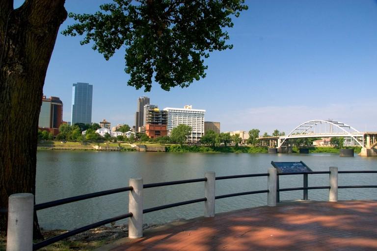 River front Park along the Arkansas River in Little Rock, Arkansas.
