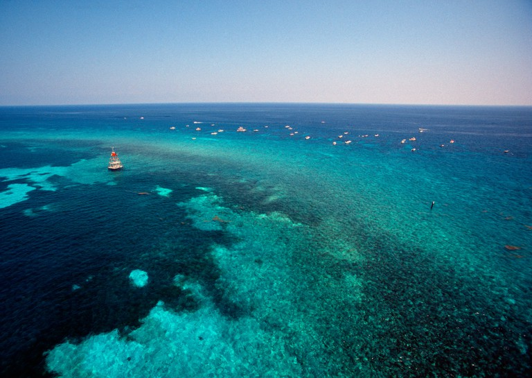 Aerial of Molasses Reef and boaters Upper Keys Florida