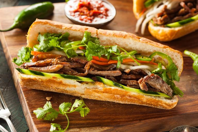 Vietnamese Pork Banh Mi Sandwich with Cilantro and Daikon