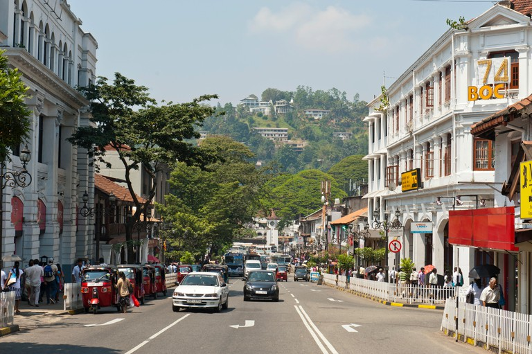 Colonial architecture on the main road, Kandy, Sri Lanka