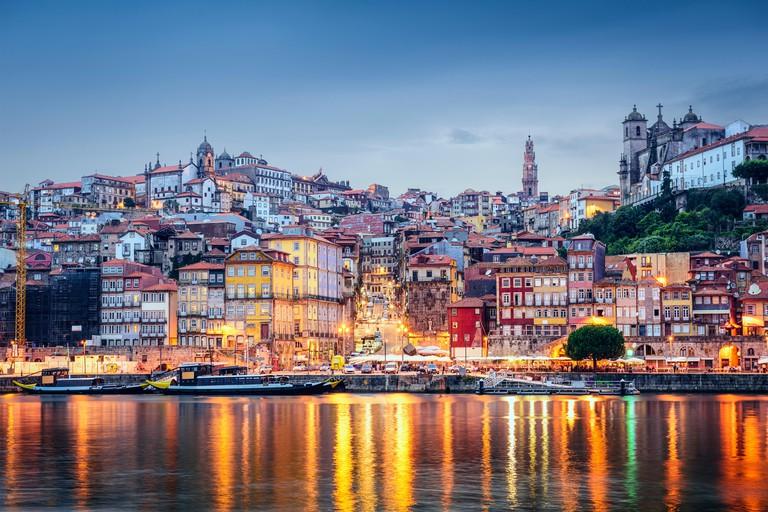Porto, Portugal cityscape across the Douro River.