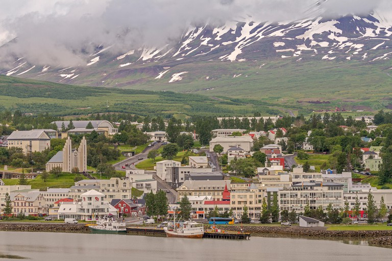 The Town Of Akureyri Iceland