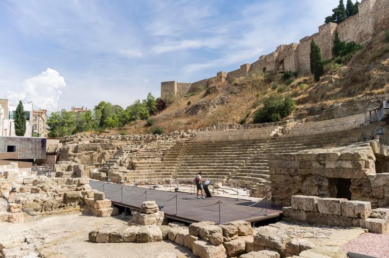 Roman theatre and Alcazaba castle. Malaga, Andalusia, Spain.