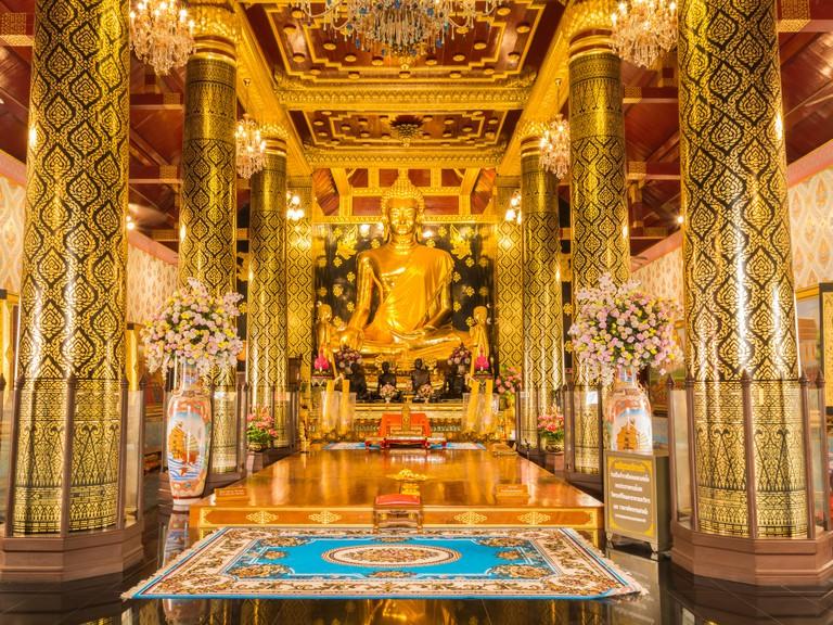 Phitsanulok, Thailand 2015-12-04 : Sihing Buddha in church Phra Si Rattana Mahathat temple,  Phitsanulok province