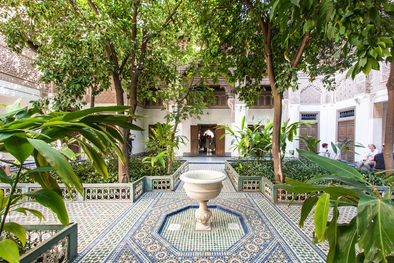 Courtyard of the Bahia Palace in Marrakech, Morocco.