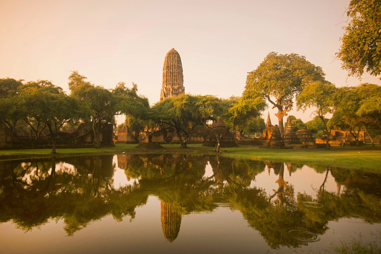the wat Phra Ram in the landscape of the Historical park in the city of Ayutthaya north of bangkok in Thailand in southeastasia.