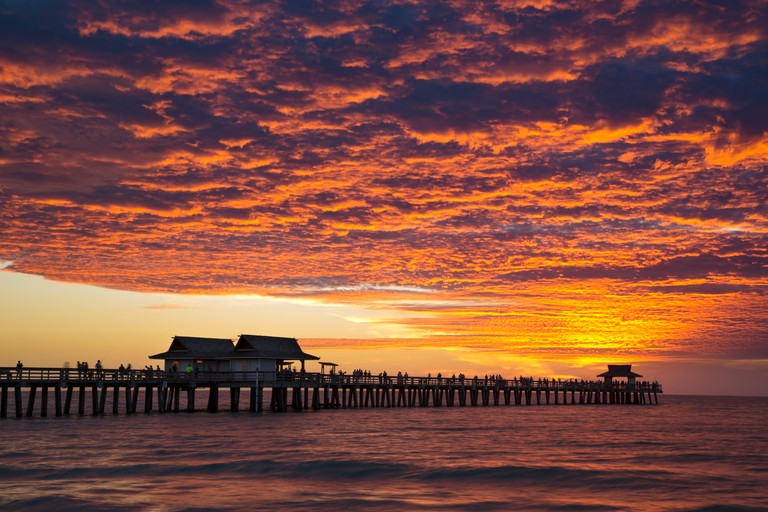 Colorful Alto-Sunset over the pier, Naples, Florida, USA