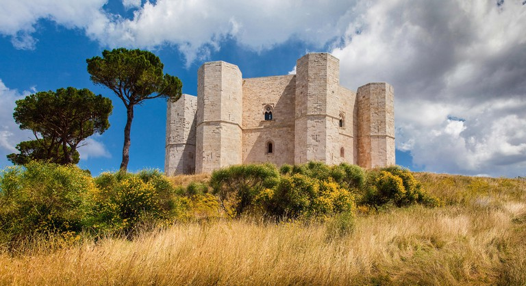 Panoramic view of famous Castel del Monte, the historic castle built in an octagonal shape by the Holy Roman Emperor Frederick II, Apulia, Italy