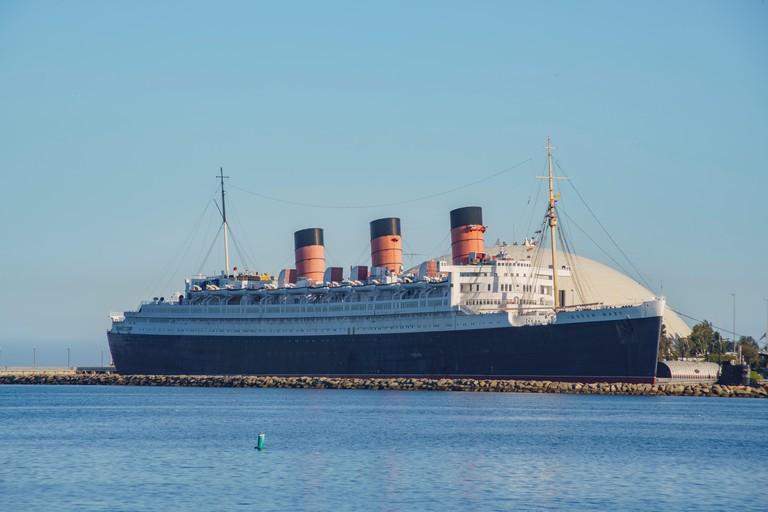 The famous Queen Mary near Rainbow Harbor, Long Beach, California, U.S.A.