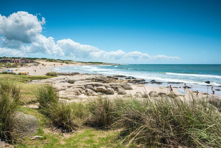 Punta del Diablo Beach, province Rocha ? December 22, 2012: Popular tourist site and Fisherman's place in the Uruguay Coast