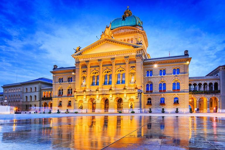 Bern, Switzerland. Bundesplatz (Federal Square) and Bundeshaus (the Swiss Parliament Building)