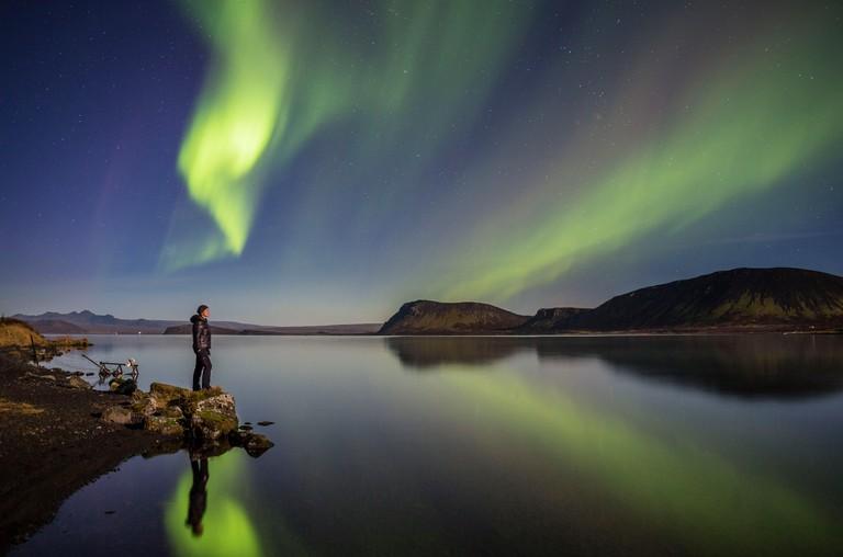 Aurora Borealis or Northern Lights at Lake Thingvallavatn, Thingvellir National Park, Iceland