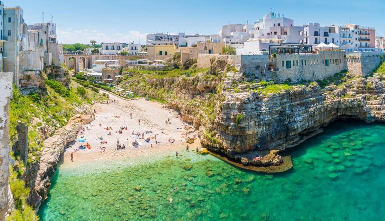 Scenic sight in Polignano a Mare, Bari Province, Apulia (Puglia), southern Italy.