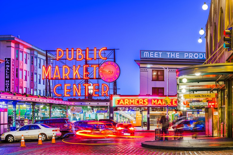 SEATTLE; WASHINGTON - July 2; 2018: Pike Place Market at night. The popular tourist destination opened in 1907 and is one of the oldest continuously o