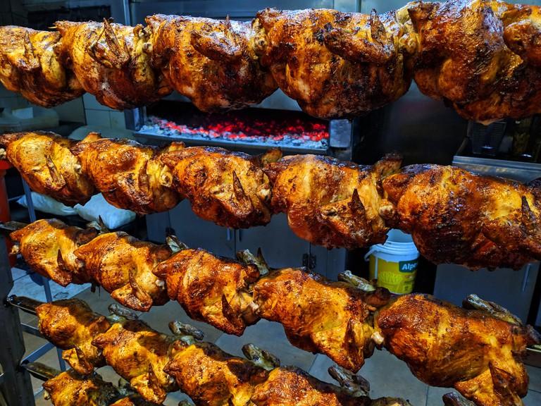 Peruvian pollo a la brasa, roasted chicken lima peru