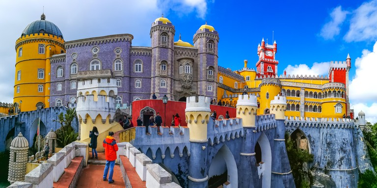 Closeup view of the historical Pena Palace of Sintra, Portugal