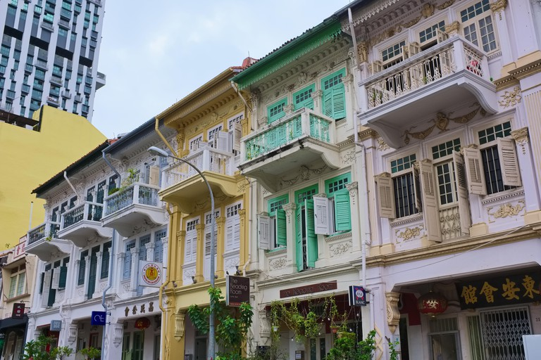Colorful old Peranakan-style houses in Bukit Pasoh Road, Tanjong Pagar / Chinatown area, Singapore, location of a scene in movie Crazy Rich Asians