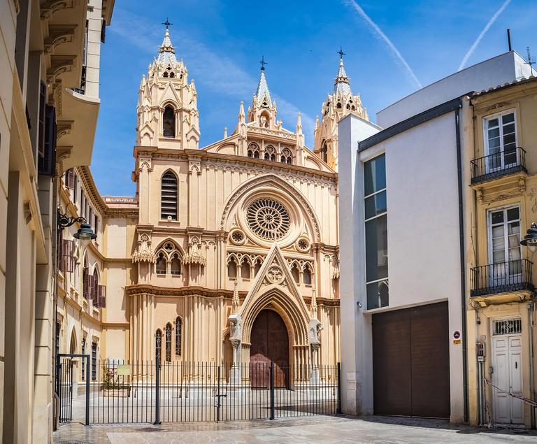 MALAGA, COSTA DEL SOL, SPAIN - CIRCA MAI, 2019:  Iglesia del Sagrado Corazon of Malaga on the Costa del Sol in Andalusia, Spain