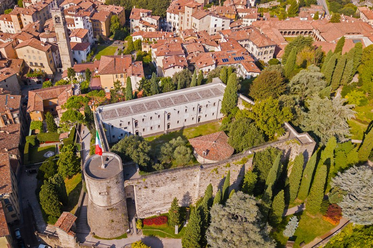 Bergamo, Italy. The old city. Drone aerial view of the fortress. One of the most famous landmark in Bergamo
