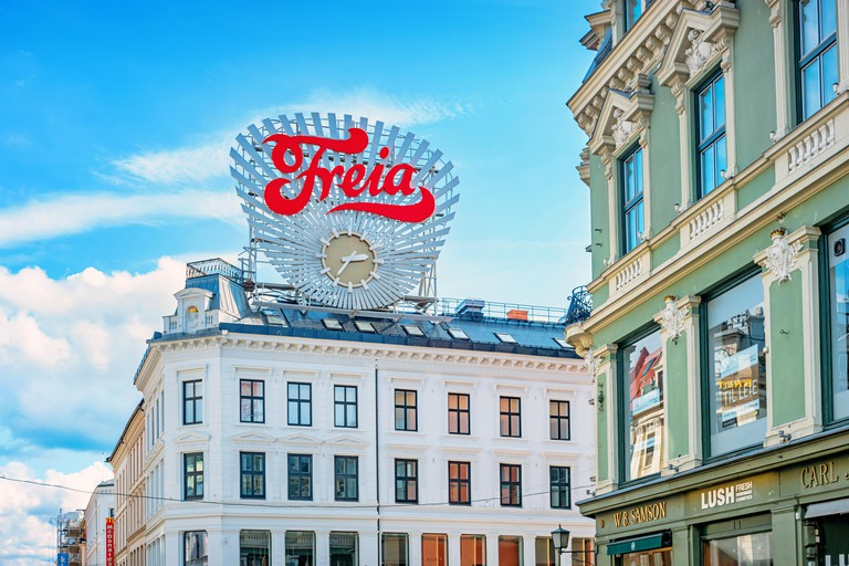 Freia clock at Egertorget square in downtown Oslo Norway. Freia is a Norwegian chocolate sweets manufacturing company.