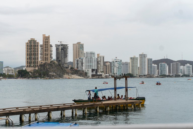 A panoramic view of the Rodadero in the city of Santa Marta