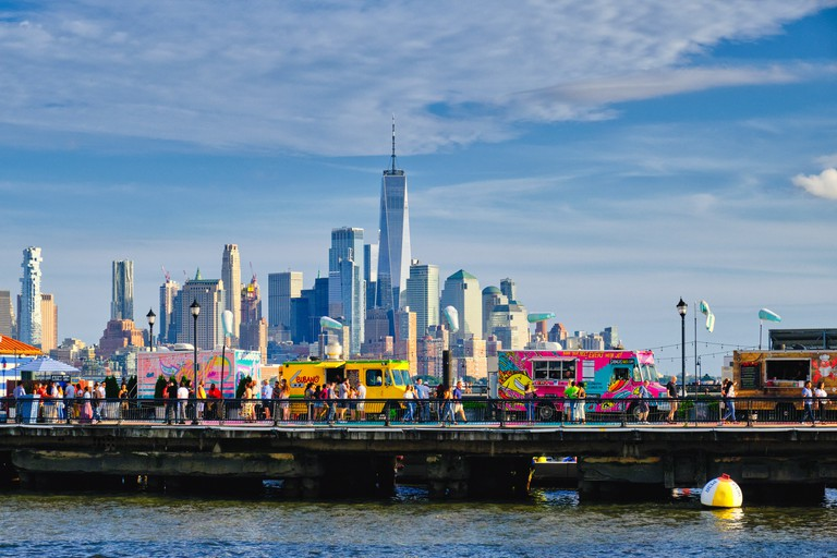 View of Pier 13 an Open Air Seasonal Beer Garden and Food Truck Place, Hoboken, Hudson County, New Jersey - 2A5N4G5