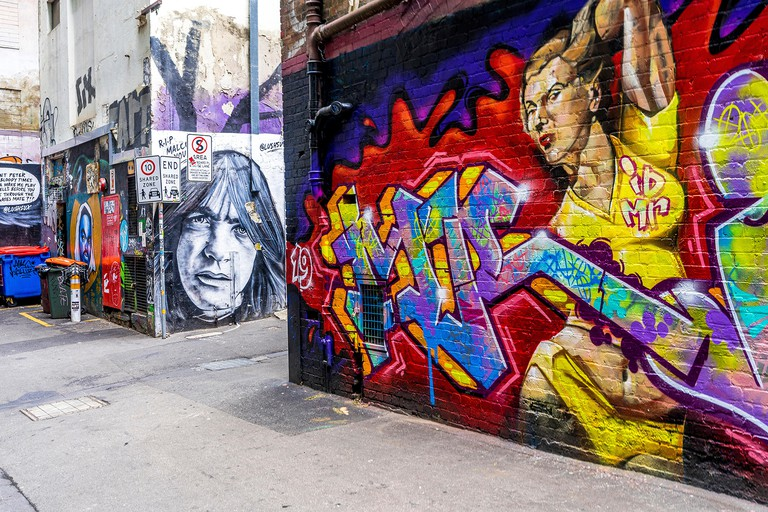 3 Nov 19 - Melbourne, Australia. Duckboard Place is a famous location for street art in the city of Melbourne.