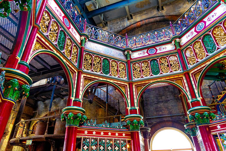 The colourful decorative ironwork of The Octagon at the Victorian Crossness Pumping Station, UK