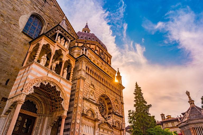 Church Basilica Santa Maria Maggiore in Bergamo, Citta Alta, Italy. Beautiful medieval architecture of Tuscany. One of the major landmarks in the regi