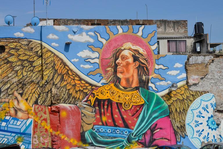 Wandmalerei, Barrio de Xanenetla, Puebla, Mexiko