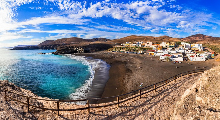 Traditional fishing Ajuy village,panoramic view,Fuerteventura island,Spain.