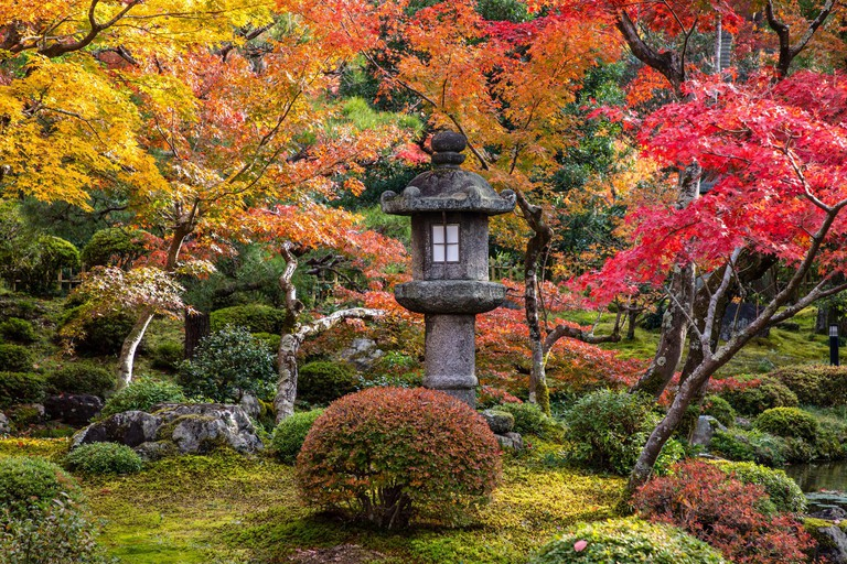 KYOTO, JAPAN -18th  November 2019: Beautiful japanese garden in one of subtemples of Nanzen-ji display autumn colours