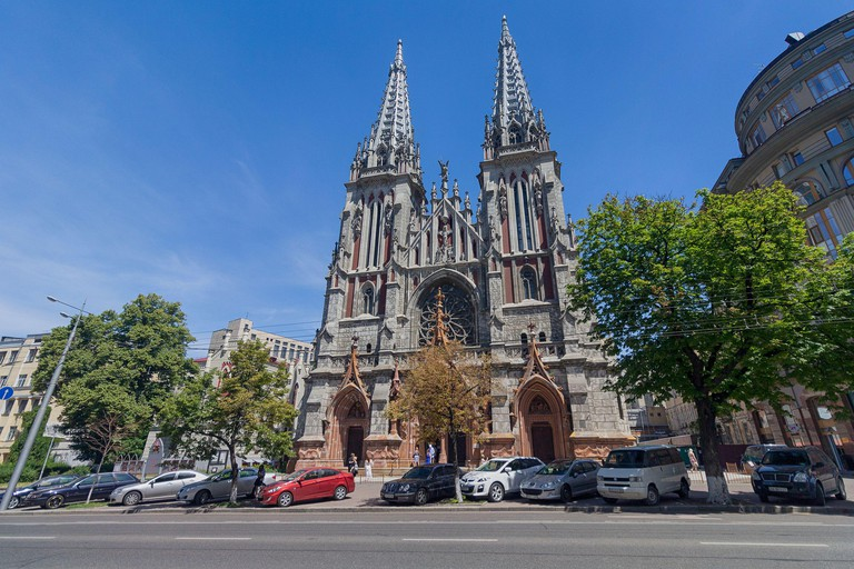 Kiev, Ukraine - June 10, 2018: Church of St. Nicholas in Kiev. Gothic church with pointed towers. Ancient cathedral of medieval Europe