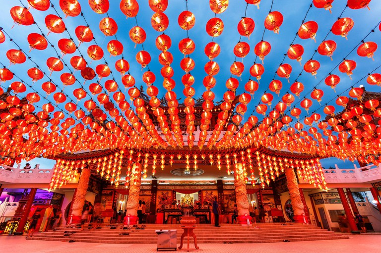 The Red Lanterns of Thean Hou Temple during Chinese New Year.