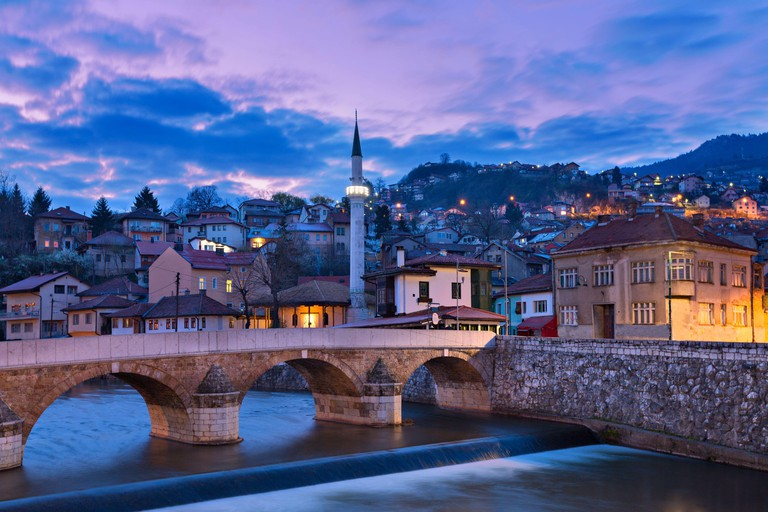 Skyline of the old town at the sunrise in Sarajevo, Bosnia and Herzegovina
